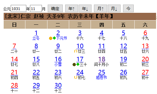 道家阴符派博客--寿星万年历天圣九年闰月有误?--历法